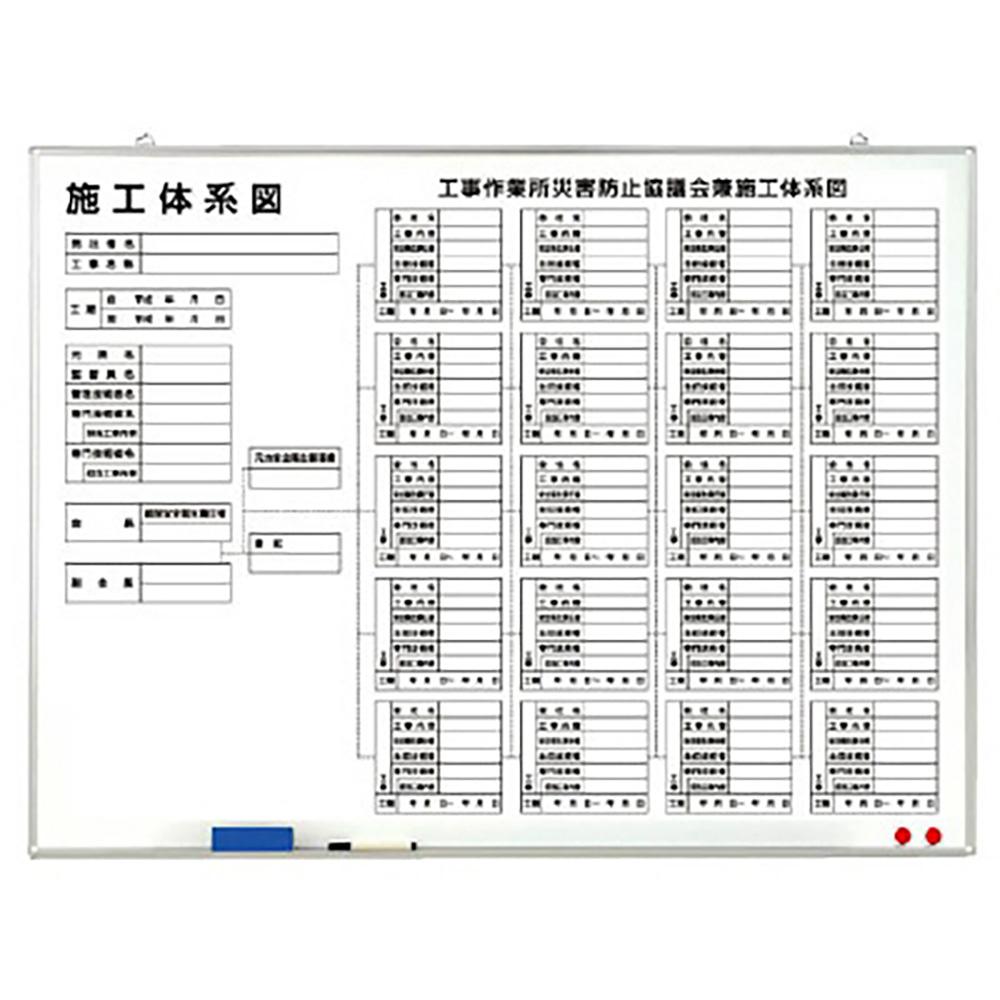 ユニット(UNIT)【317-73】施工体系図 水性ペン・消し具付(屋内用)