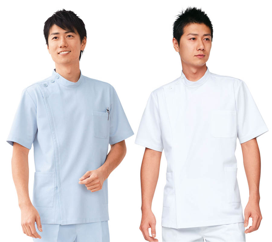 凯西男性横掛白衣医療白衣博士诊断外衣人白/蓝色灰色