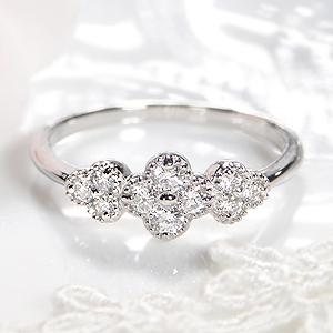 Pt900 【0.30ct】フラワーモチーフダイヤモンド リングダイヤモンドリング おすすめ ジュエリー 指輪 可愛い フラワー プラチナ リング 人気 おしゃれ 品質保証書 新作 結婚記念日 代引手数料無料 ラッピング無料