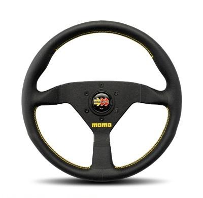 MOMO ITALY 【モモ】VELOCE RACING 「ヴェローチェ レーシング」 320mm(325mm)ブラックレザー/ブラックスポーク・イエローステッチ