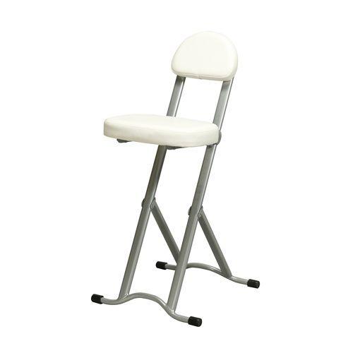 [永井興産] NK-017 高さ調節チェア ホワイト 折りたたみ椅子 座面無段階 調節カウンターチェア キッチン 立ち仕事 【送料無料】