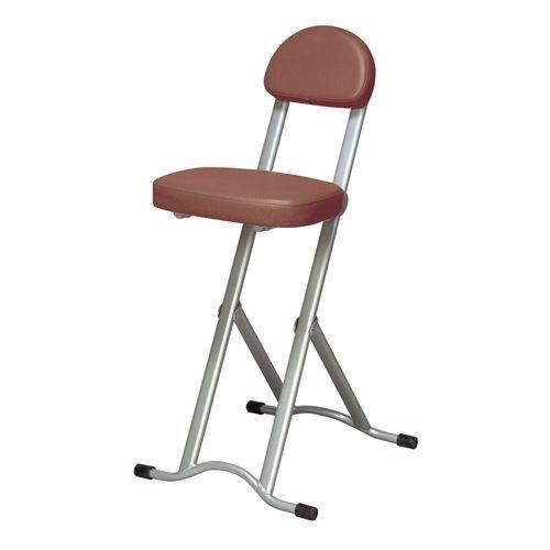[永井興産] NK-017 高さ調節チェア ブラウン 折りたたみ椅子 座面無段階 調節カウンターチェア キッチン 立ち仕事 【送料無料】