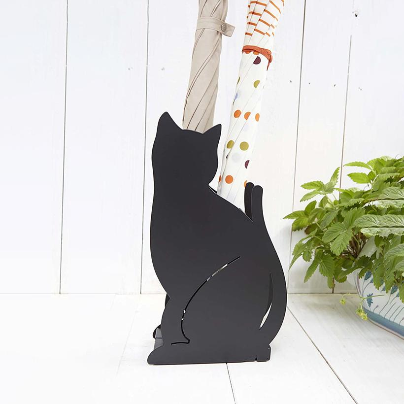 かわいいネコが玄関でお出迎え 山崎実業 かさたて 出群 ネコ ブラック US-SD カワイイ 傘たて 贈物 BK 猫