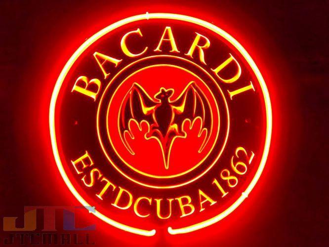 供BACARDI百家得特大3D霓虹灯招牌室内装饰收集霓虹灯信号广告店铺使用的NEON SIGN美国的杂货招牌氖管