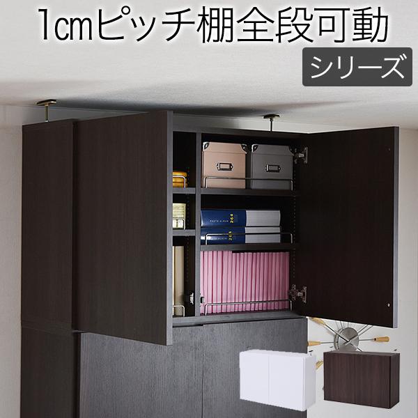 本棚 深型 ラック 扉付き 上置き 幅81 MEMORIA 棚板が1cmピッチで可動する