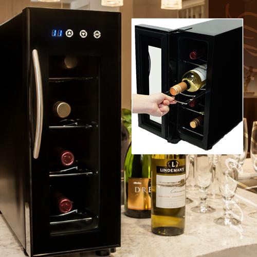 家庭用 シンプル ワインセラー 右開き 4本収納 12L【325148】