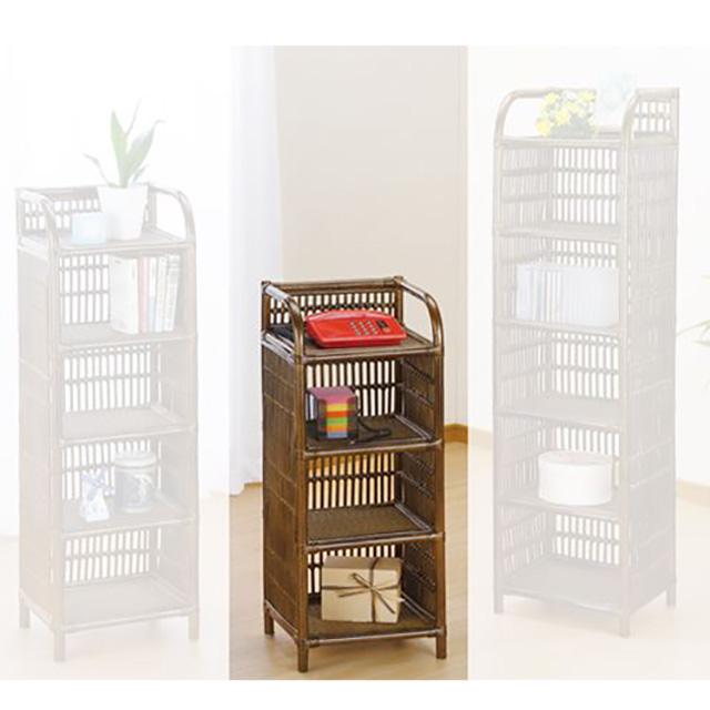 ラック 4段タイプ R-303Bブラウン 籐 籐家具 ラック 飾り棚 和風リビングルーム籐ラタン製 輸入品 完成品