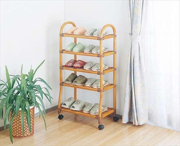 シューズ&スリッパラック R-903ライトブラウン 籐 籐家具 スリッパラック シューズラック ラック 和風玄関籐ラタン製 輸入品 完成品