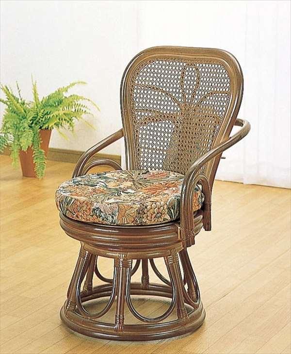 籐ハイバックサポート回転スツール S-42Bブラウン 籐 籐家具 座布団 スツール 椅子 イス 回転式 和風リビングルーム籐ラタン製 輸入品 完成品