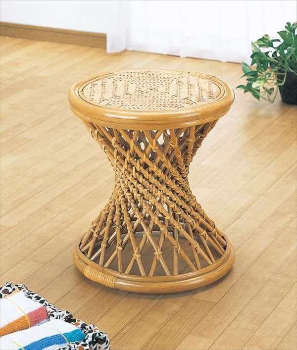 スツール S-45ライトブラウン 籐 籐家具 座布団 スツール 椅子 イス 和風リビングルーム籐ラタン製 輸入品 完成品