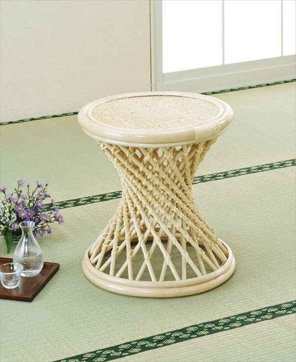 スツール S-47ナチュラル 籐 籐家具 座布団 スツール 椅子 イス 和風リビングルーム籐ラタン製 輸入品 完成品