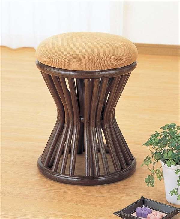 スツール S-48Bブラウン 籐 籐家具 座布団 スツール 椅子 イス 和風リビングルーム籐ラタン製 輸入品 完成品