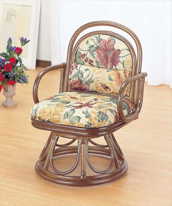 籐安楽座椅子 回転タイプ S-49Bブラウン 籐 籐家具 座椅子 椅子 イス 回転式 和風リビングルーム籐ラタン製 輸入品 完成品