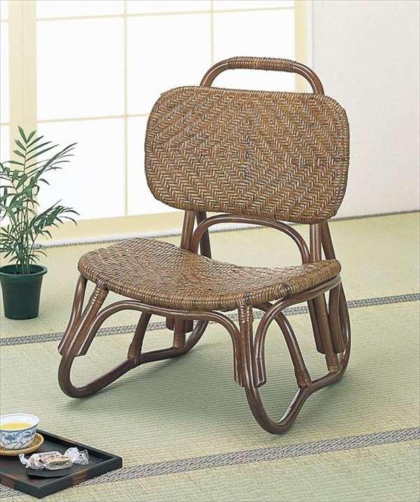 【送料無料】 籐アジロ編み楽々座椅子 S-52Bブラウン 籐 籐家具 座椅子 椅子 イス 和風リビングルーム籐ラタン製 輸入品 完成品