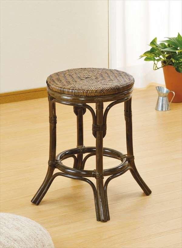 【送料無料】 スツール S-76Bブラウン 籐 籐家具 座布団 スツール 椅子 イス 和風リビングルーム籐ラタン製 輸入品 完成品