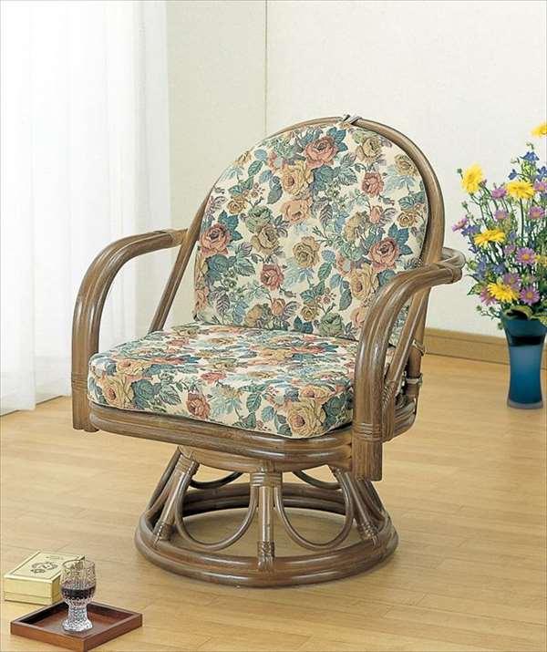 ラウンドチェア S-104B ブラウン 籐 籐家具 座椅子 椅子 イス 回転式 和風リビングルーム籐ラタン製 輸入品 完成品