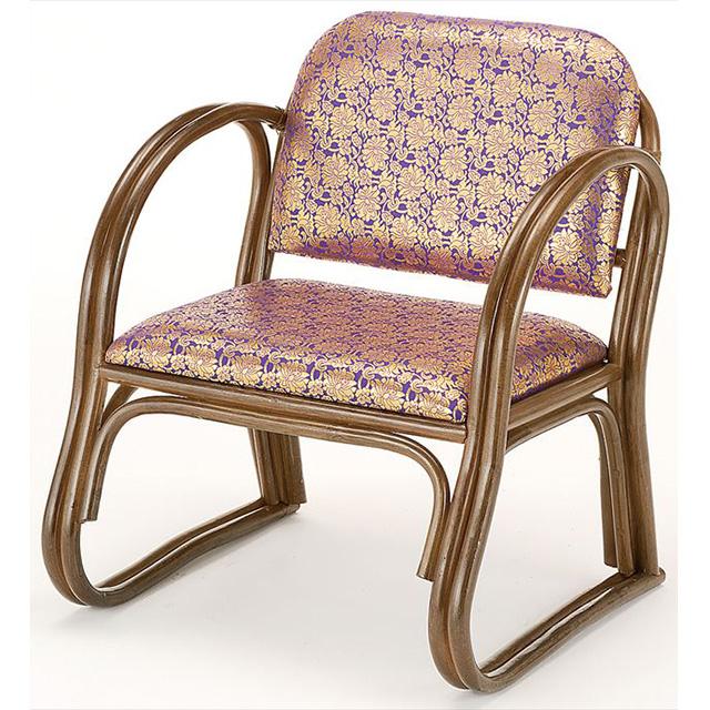 籐金襴思いやり座椅子 ハイタイプ S-131Bブラウン 籐 籐家具 座椅子 椅子 イス 和風リビングルーム籐ラタン製 輸入品 完成品