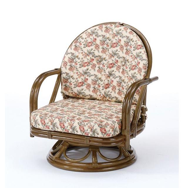 回転座椅子ミドルタイプ S-252Bブラウン 籐 籐家具 座椅子 椅子 イス 回転式 和風リビングルーム籐ラタン製 輸入品 完成品