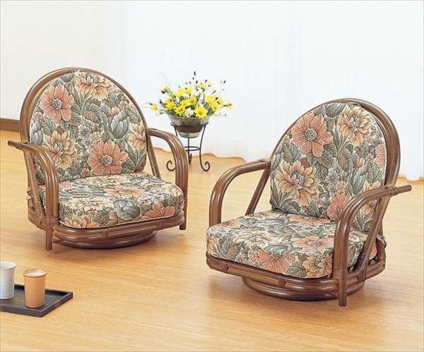 籐ラウンドチェア ロータイプ2脚組 S-330B ブラウン 籐 籐家具 座椅子 椅子 イス 回転式 和風リビングルーム籐ラタン製 輸入品 完成品
