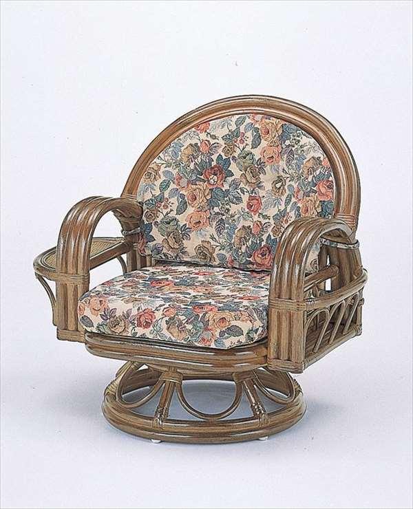 ラウンドチェア ミドルタイプ S-332B ブラウン 籐 籐家具 座椅子 椅子 イス 回転式 和風リビングルーム籐ラタン製 輸入品 完成品