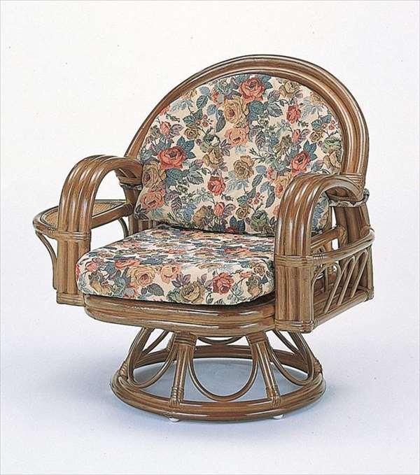 ラウンドチェア ハイタイプ S-333B ブラウン 籐 籐家具 座椅子 椅子 イス 回転式 和風リビングルーム籐ラタン製 輸入品 完成品