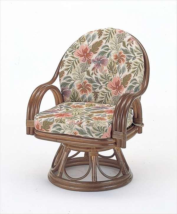 回転座椅子ミドルハイタイプ S-473ブラウン 籐 籐家具 座椅子 椅子 イス 回転式 和風リビングルーム籐ラタン製 輸入品 完成品