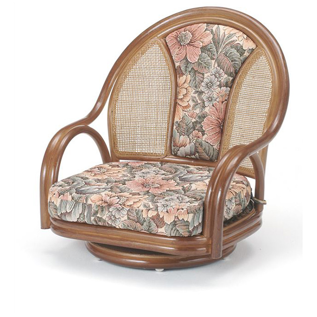 ラウンドチェア ロータイプ S-521B ブラウン 籐 籐家具 座椅子 椅子 イス 回転式 和風リビングルーム籐ラタン製 輸入品 完成品