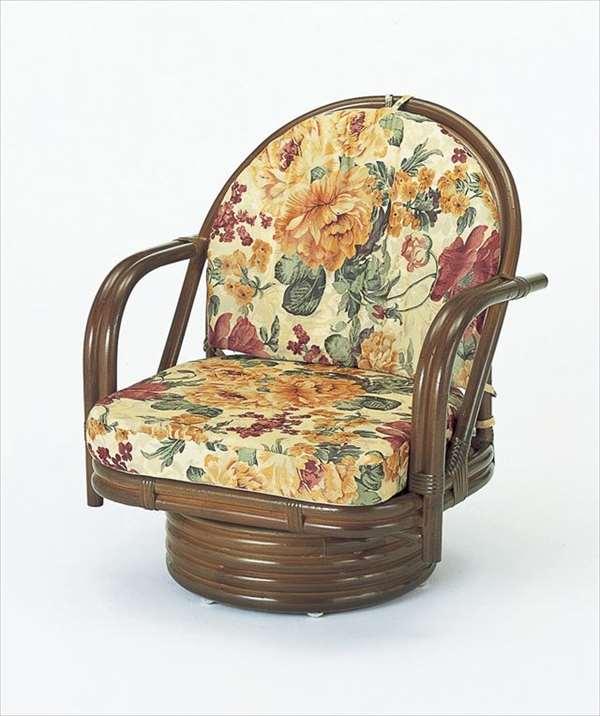 回転座椅子ミドルタイプ S-542Bブラウン 籐 籐家具 座椅子 椅子 イス 回転式 和風リビングルーム籐ラタン製 輸入品 完成品