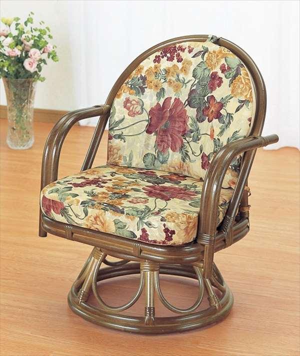 回転座椅子ミドルハイタイプ S-543Bブラウン 籐 籐家具 座椅子 椅子 イス 回転式 和風リビングルーム籐ラタン製 輸入品 完成品