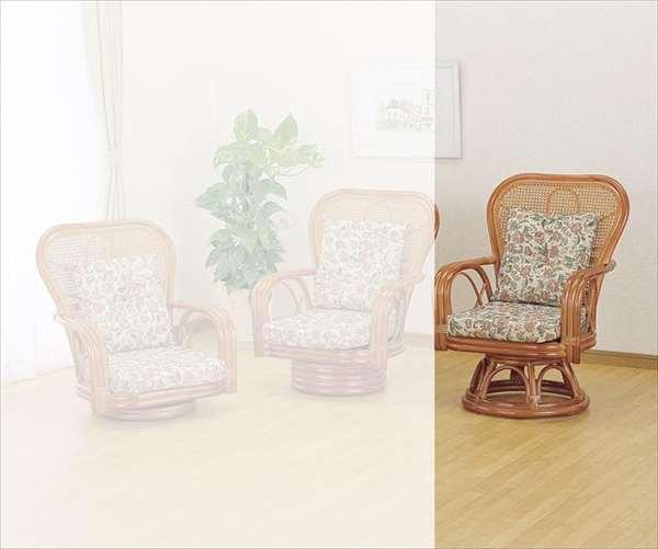 ラウンドチェア ハイタイプ S-563 ライトブラウン 籐 籐家具 座椅子 椅子 イス 回転式 和風リビングルーム籐ラタン製 輸入品 完成品