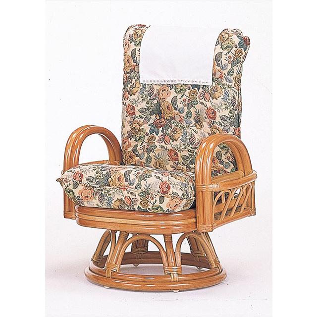 籐リクライニング回転座椅子 ハイタイプ S-593ライトブラウン 籐 籐家具 座椅子 椅子 イス 回転式 リクライニング チェア 和風リビングルーム籐ラタン製 輸入品 完成品