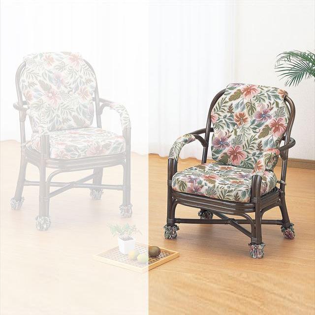 【送料無料】 アームチェアロータイプ S-656B ブラウン 籐 籐家具 座椅子 椅子 イス 和風リビングルーム籐ラタン製 輸入品 完成品