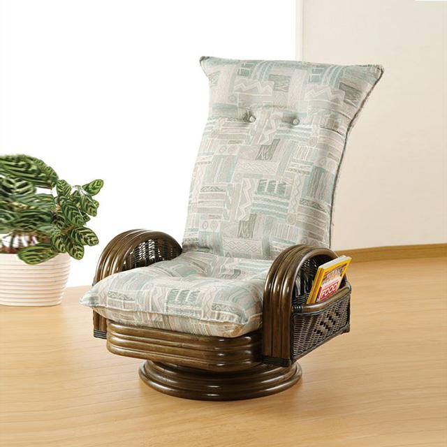 【送料無料】 ジャンボリクライニングラウンドチェアー S-670ブラウン 籐 籐家具 座椅子 椅子 イス 回転式 リクライニング チェア 和風リビングルーム籐ラタン製 輸入品 完成品