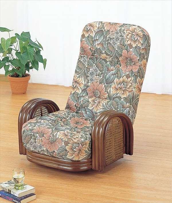 【送料無料】 籐リクライニング回転座椅子 ロータイプ S-677ブラウン 籐 籐家具 座椅子 椅子 イス 回転式 和風リビングルーム籐ラタン製 輸入品 完成品