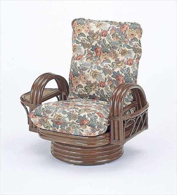【送料無料】 籐リクライニング回転座椅子ミドルタイプ S-698ブラウン 籐 籐家具 座椅子 椅子 イス 回転式 和風リビングルーム籐ラタン製 輸入品 完成品