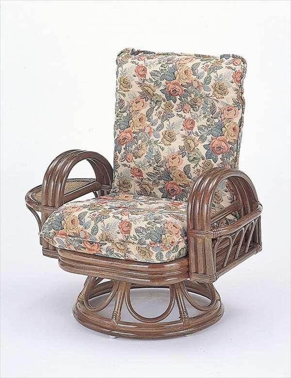 【送料無料】 籐リクライニング回転座椅子ハイタイプ S-699ブラウン 籐 籐家具 座椅子 椅子 イス 回転式 和風リビングルーム籐ラタン製 輸入品 完成品
