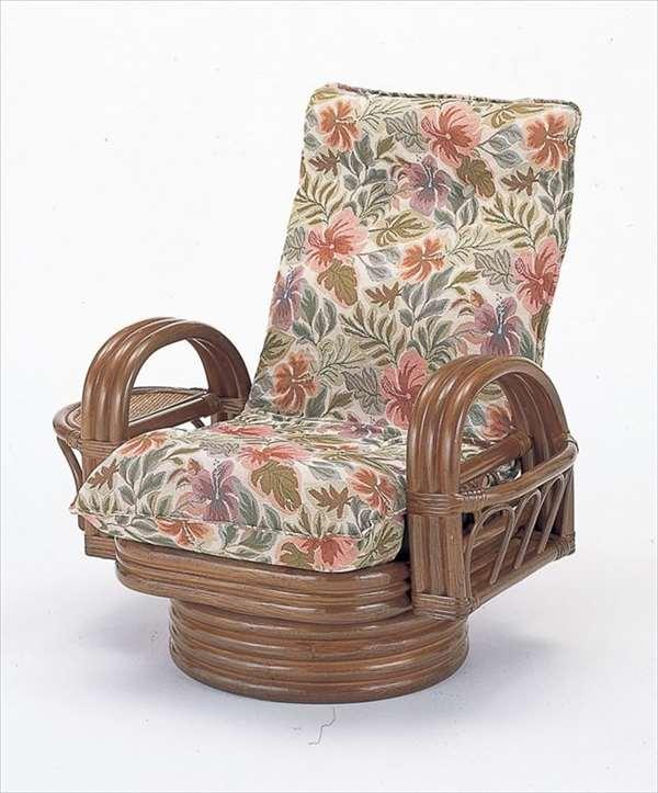 【送料無料】 籐リクライニング回転座椅子ミドルタイプ S-752ブラウン 籐 籐家具 座椅子 椅子 イス 回転式 和風リビングルーム籐ラタン製 輸入品 完成品