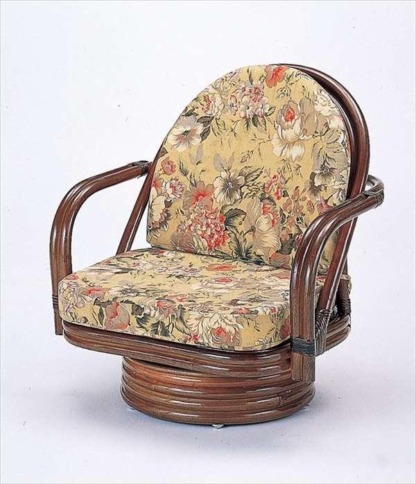 回転座椅子ミドルタイプ S-776Bブラウン 籐 籐家具 座椅子 椅子 イス 回転式 和風リビングルーム籐ラタン製 輸入品 完成品