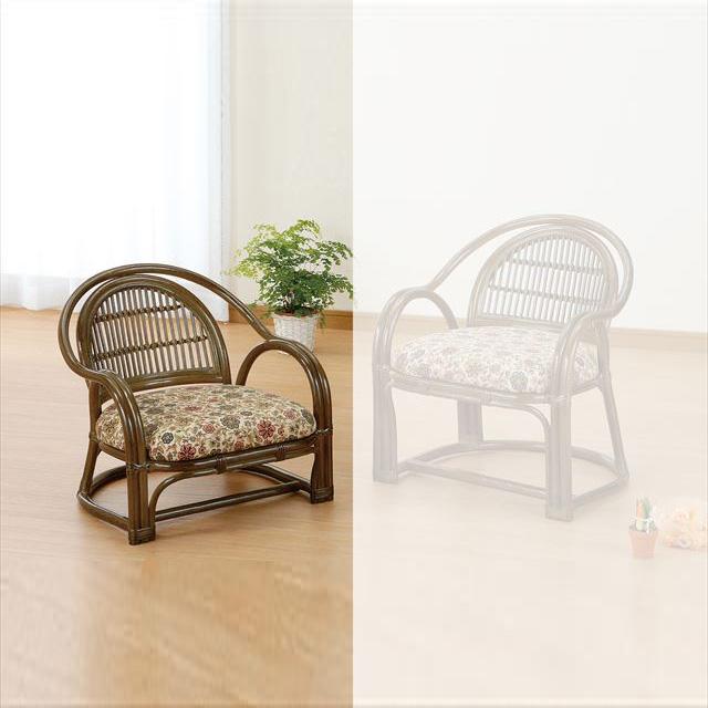 【送料無料】 アームチェアロータイプ S-885B ブラウン 籐 籐家具 座椅子 椅子 イス 和風リビングルーム籐ラタン製 輸入品 完成品