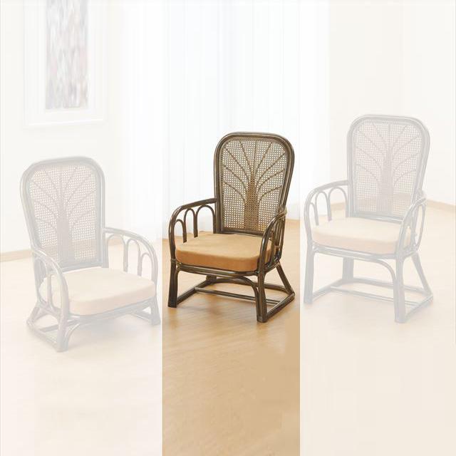 ハイバックアームチェア ミドルタイプ S-902B ブラウン 籐 籐家具 座椅子 椅子 イス 和風リビングルーム籐ラタン製 輸入品 完成品