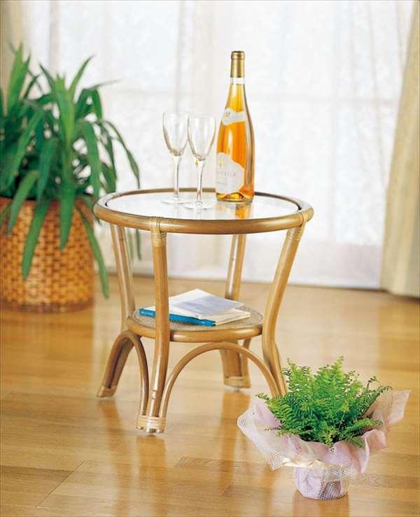 【送料無料】 テーブル T-31ライトブラウン 籐 籐家具 テーブル 和風リビングルーム籐ラタン製 輸入品 完成品