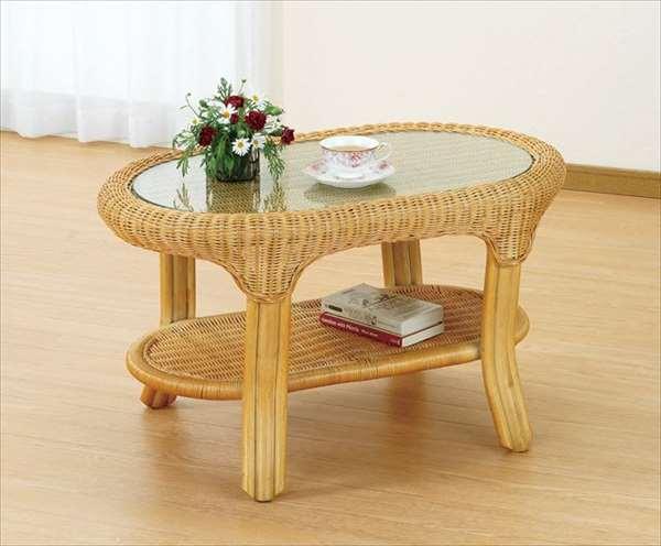 【送料無料】 テーブル T-128ライトブラウン 籐 籐家具 テーブル センターテーブル リビングテーブル アジアンリビングルーム籐ラタン製 輸入品 完成品