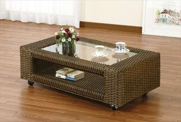 テーブル T-996Bブラウン 籐 籐家具 テーブル センターテーブル リビングテーブル キャスター付 アジアンリビングルーム籐ラタン製 輸入品 完成品
