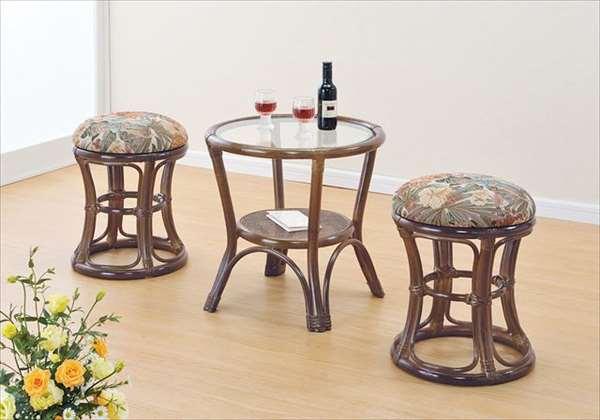籐スツール&テーブル 3点セット TK-43T31Bブラウン 籐 籐家具 スツール テーブル セット イス 椅子 アジアンリビングルーム籐ラタン製 輸入品 完成品