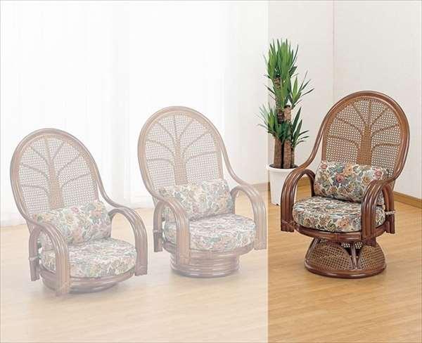 【送料無料】 ラウンドチェア ハイタイプ TK-666B ブラウン 籐 籐家具 座椅子 椅子 イス 回転式 アジアンリビングルーム籐ラタン製 輸入品 完成品