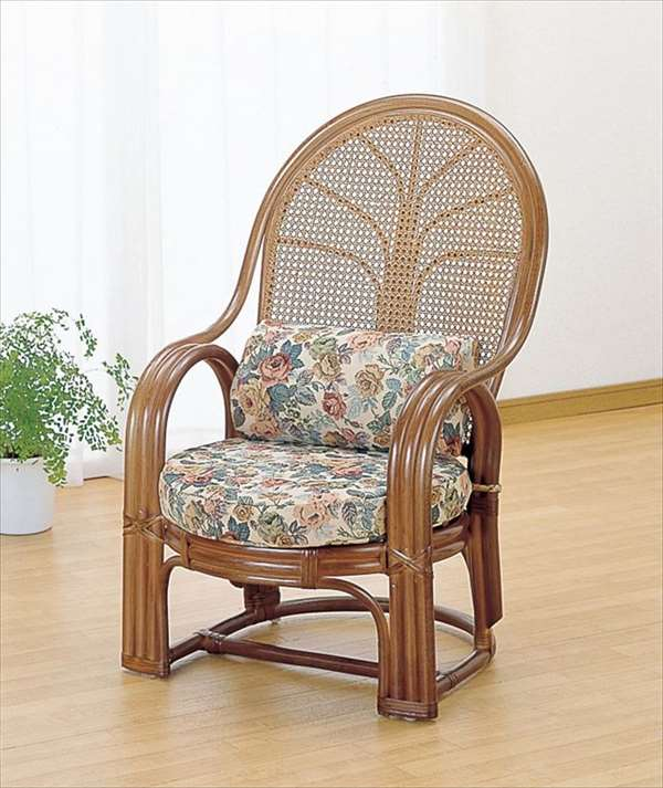 【送料無料】 アームチェア TK-667B ブラウン 籐 籐家具 座椅子 椅子 イス アジアンリビングルーム籐ラタン製 輸入品 完成品