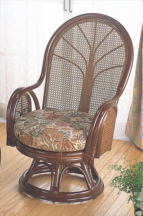 ラウンドチェア ハイタイプ TK-901 ブラウン 籐 籐家具 座椅子 椅子 イス 回転式 アジアンリビングルーム籐ラタン製 輸入品 完成品