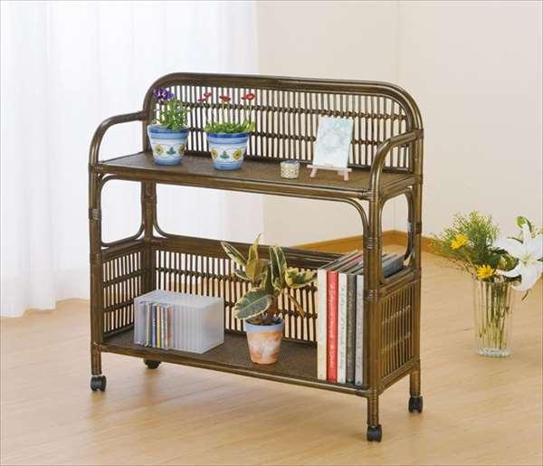 飾り棚 W-686Bブラウン 籐 籐家具 収納 飾り棚 棚 ラック アジアンリビングルーム籐ラタン製 輸入品 完成品