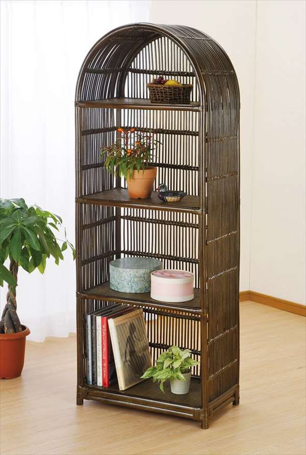 飾り棚 W-749Bブラウン 籐 籐家具 収納 棚 飾り棚 アジアンリビングルーム籐ラタン製 輸入品 完成品