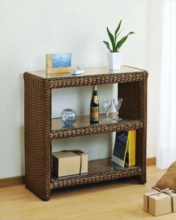 【送料無料】 籐飾り棚 W-987Bブラウン 籐 籐家具 収納 棚 飾り棚 アジアンリビングルーム籐ラタン製 輸入品 完成品